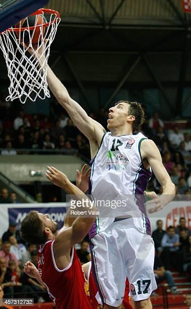 Fran Vazquez #17 of Unicaja Malaga in action during the 20142015 Turkish Airlines Euroleague Basketball Regular Season Date 1 between Cedevita Zagreb...