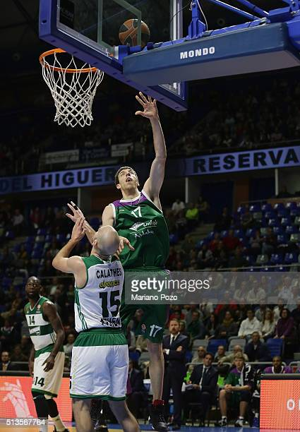 Fran Vazquez #17 of Unicaja Malaga in action during the 20152016 Turkish Airlines Euroleague Basketball Top 16 Round 9 game between Unicaja Malaga v...