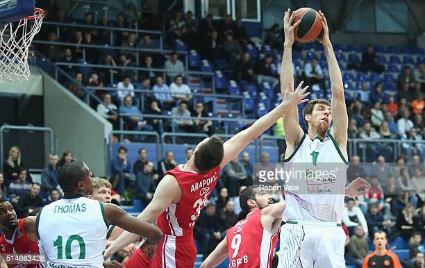 Fran Vazquez #17 of Unicaja Malaga in action during the 20152016 Turkish Airlines Euroleague Basketball Top 16 Round 10 game between Cedevita Zagreb...