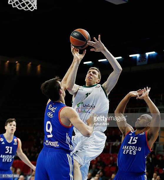 Fran Vazquez #17 of Unicaja Malaga in action during the 20152016 Turkish Airlines Euroleague Basketball Top 16 Round 12 game between Anadolu Efes...