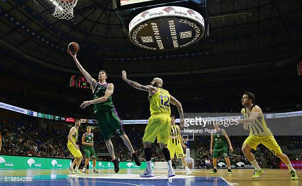 Fran Vazquez #17 of Unicaja Malaga in action during the 20152016 Turkish Airlines Euroleague Basketball Top 16 Round 14 game between Unicaja Malaga v...
