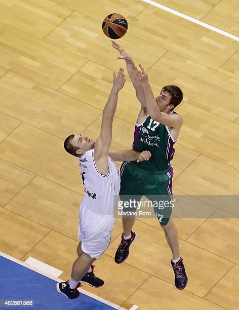 Fran Vazquez #17 of Unicaja Malaga in action during the Euroleague Basketball Top 16 Date 6 game between Unicaja Malaga v Nizhny Novgorod at Martin...