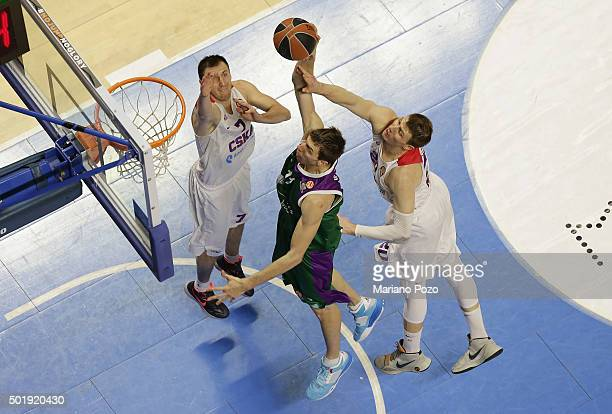 Fran Vazquez #17 of Unicaja Malaga in action during the Turkish Airlines Euroleague Basketball Regular Season Round 10 game between Unicaja Malaga v...