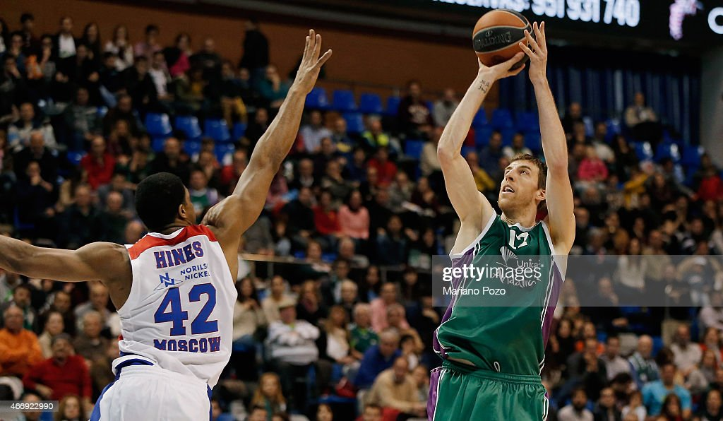 Fran Vazquez, #17 of Unicaja Malaga in action during the Turkish Airlines Euroleague Basketball Top 16 Date 11 game between Unicaja Malaga v CSKA Moscow at Martin Carpena on March 19, 2015 in Malaga, Spain.