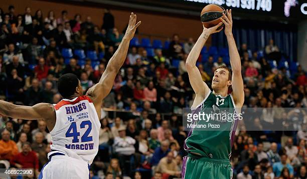 Fran Vazquez #17 of Unicaja Malaga in action during the Turkish Airlines Euroleague Basketball Top 16 Date 11 game between Unicaja Malaga v CSKA...