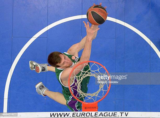 Fran Vazquez #17 of Unicaja Malaga in action during the Turkish Airlines Euroleague Basketball Top 16 Date 13 game against Nizhny Novgorod at Cec...