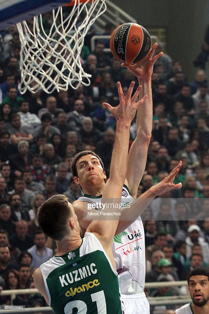 Fran Vazquez, #17 of Unicaja Malaga in action during the Turkish Airlines Euroleague Basketball Top 16 Round 2 game between Panathinaikos Athens v Unicaja Malaga at Olympic Sports Center Athens on January 8, 2016 in Athens, Greece.