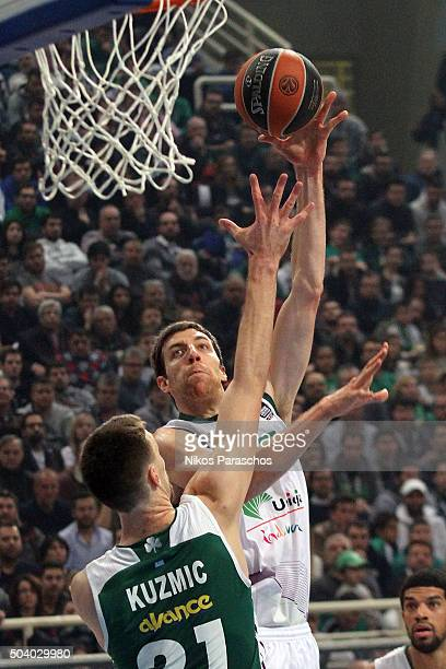 Fran Vazquez #17 of Unicaja Malaga in action during the Turkish Airlines Euroleague Basketball Top 16 Round 2 game between Panathinaikos Athens v...