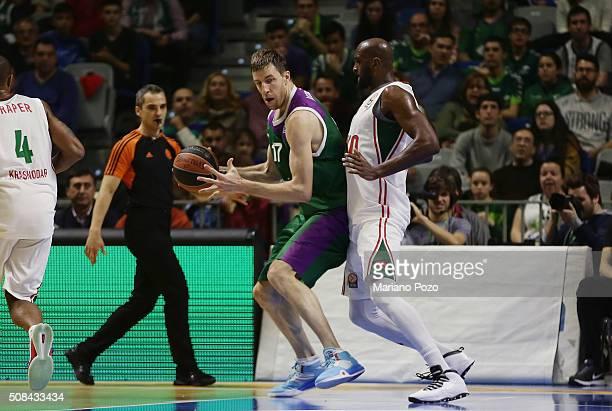Fran Vazquez #17 of Unicaja Malaga in action during the Turkish Airlines Euroleague Basketball Top 16 Round 6 game between Unicaja Malaga v Lokomotiv...