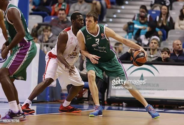 Fran Vazquez of Unicaja Malaga during the Euroleague Basketball Top 16 Date 1 game between Unicaja Malaga v Olympiacos Piraeus at Martin Carpena...