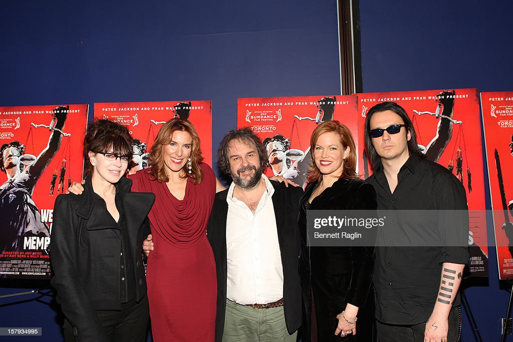 Fran Walsh, Amy Berg, Peter Jackson, Lorri Davis, and Damien Echols attend the 'West Of Memphis' premiere at Florence Gould Hall on December 7, 2012 in New York City.