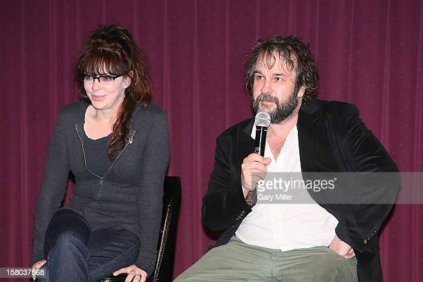 Fran Walsh and Peter Jackson speak after a screening of the new film 'The Hobbit' during Ain't It Cool News's ButtNumbAThon 14 at the Alamo...