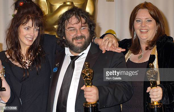 Fran Walsh Peter Jackson and Philippa Boyens winners of Best Adapted Screenplay for 'The Lord of the Rings The Return of the King'