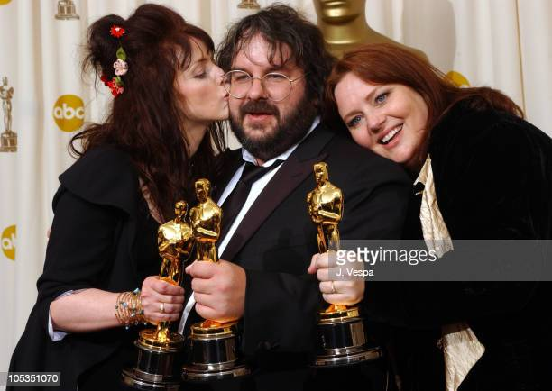 Fran Walsh Peter Jackson and Phillippa Boyens during The 76th Annual Academy Awards Deadline Photo Room at The Kodak Theater in Hollywood California...