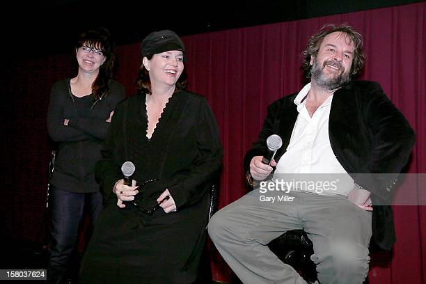 Fran Walsh Philippa Boyens and Peter Jackson speak after a screening of the new film 'The Hobbit' during Ain't It Cool News's ButtNumbAThon 14 at the...
