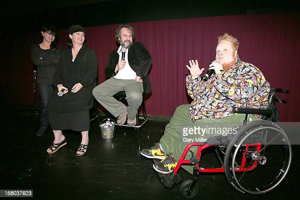 Fran Walsh Philippa Boyens Peter Jackson and Harry Knowles speak after a screening of the new film 'The Hobbit' during Ain't It Cool News's...