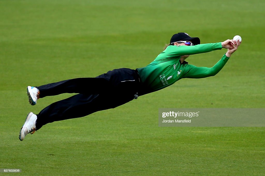 Fran Wilson of Western Storm dives to attempt a catch during the Kia Super League match between Surrey Stars and Western Storm at The Kia Oval on August 23, 2017 in London, England.
