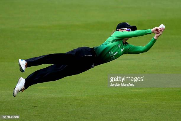 Fran Wilson of Western Storm dives to attempt a catch during the Kia Super League match between Surrey Stars and Western Storm at The Kia Oval on...