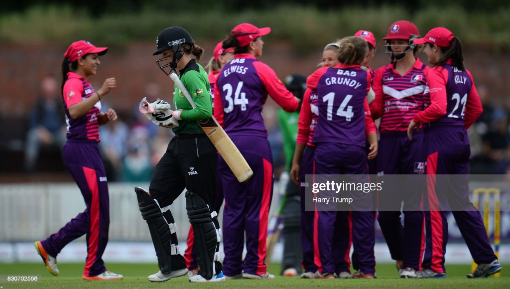 Fran Wilson of Western Storm(green) walks off after being dismissed during the Kia Super League 2017 match between Western Storm and Loughborough Lightning at The Cooper Associates County Ground on August 12, 2017 in Taunton, England.