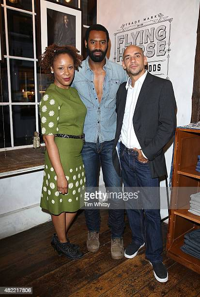 Franc Ashman Nicholas Pinnock and Fraser Ayres attend a private view of FH Faces a series of portraits by photographer Gary Wallis presented by...