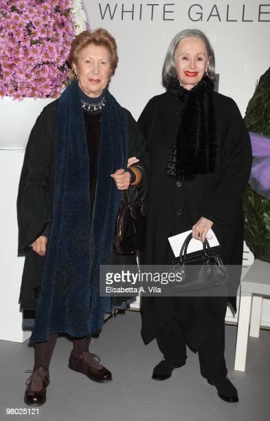 Franca Fendi and Paola Fendi attend 'L'Arte Nell'Uovo Di Pasqua' Charity Event at the White Gallery on March 24 2010 in Rome Italy