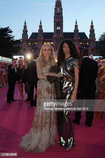 Franca Sozzani and Afef Jnifen attend the Life Ball 2015 at City Hall on May 16 2015 in Vienna Austria