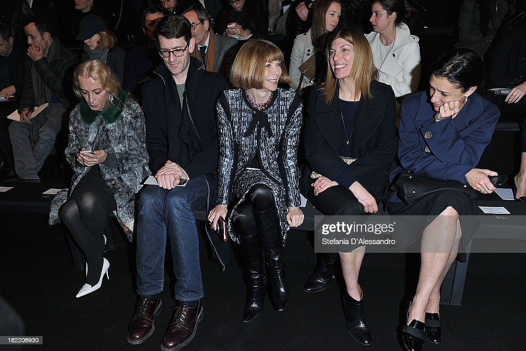 <a gi-track='captionPersonalityLinkClicked' href=/galleries/search?phrase=Franca+Sozzani&family=editorial&specificpeople=639425 ng-click='$event.stopPropagation()'>Franca Sozzani</a> and <a gi-track='captionPersonalityLinkClicked' href=/galleries/search?phrase=Anna+Wintour&family=editorial&specificpeople=202210 ng-click='$event.stopPropagation()'>Anna Wintour</a> attend the Alberta Ferretti fashion show during Milan Fashion Week Womenswear Fall/Winter 2013/14 on February 20, 2013 in Milan, Italy.