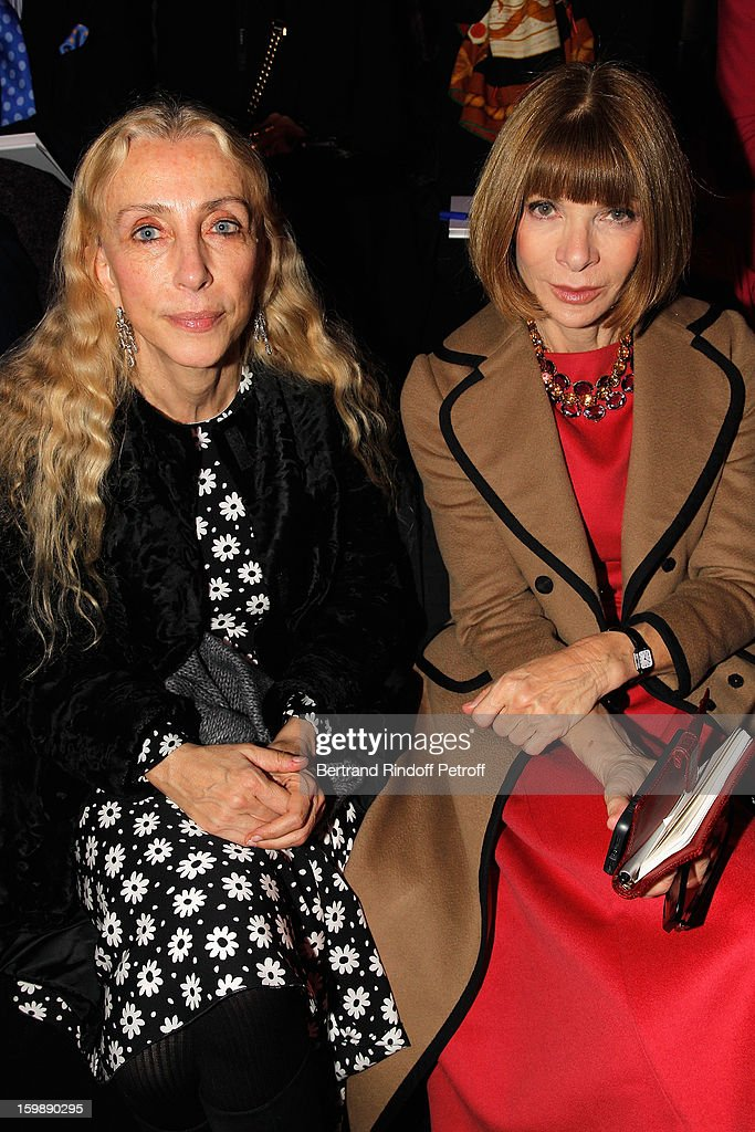 <a gi-track='captionPersonalityLinkClicked' href=/galleries/search?phrase=Franca+Sozzani&family=editorial&specificpeople=639425 ng-click='$event.stopPropagation()'>Franca Sozzani</a> (L) and <a gi-track='captionPersonalityLinkClicked' href=/galleries/search?phrase=Anna+Wintour&family=editorial&specificpeople=202210 ng-click='$event.stopPropagation()'>Anna Wintour</a> attend the Giorgio Armani Prive Spring/Summer 2013 Haute-Couture show as part of Paris Fashion Week at Theatre National de Chaillot on January 22, 2013 in Paris, France.