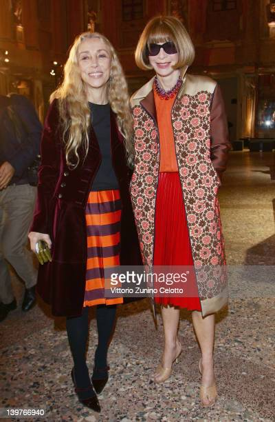 Franca Sozzani and Anna Wintour attend the 'Miuccia Prada And Elsa Schiapparelli Impossible Conversations' opening exhibition during Milan Womenswear...