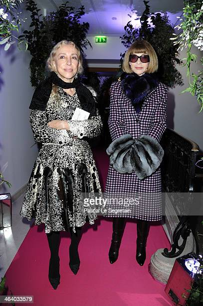 Franca Sozzani and Anna Wintour attend the Schiaparelli show as part of Paris Fashion Week Haute Couture Spring/Summer 2014 on January 20 2014 in...