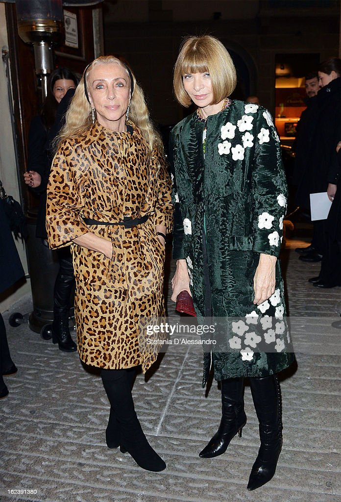 <a gi-track='captionPersonalityLinkClicked' href=/galleries/search?phrase=Franca+Sozzani&family=editorial&specificpeople=639425 ng-click='$event.stopPropagation()'>Franca Sozzani</a> (L) and <a gi-track='captionPersonalityLinkClicked' href=/galleries/search?phrase=Anna+Wintour&family=editorial&specificpeople=202210 ng-click='$event.stopPropagation()'>Anna Wintour</a> attend The Vogue Talent's Corner held at Palazzo Morando during Milan Fashion Week Womenswear Fall/Winter 2013/14 on February 22, 2013 in Milan, Italy.
