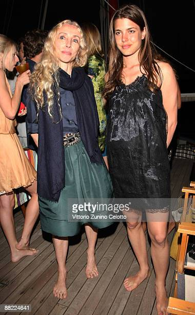 Franca Sozzani and Charlotte Casiraghi attend the Bruce Nauman dinner party hosted by Missoni on the boat 'Timoteo' during the 2009 Venice Biennale...