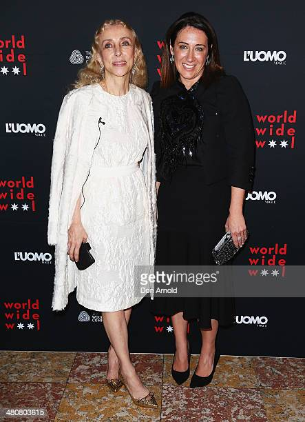 Franca Sozzani and Edwina McCann arrive at the L'Uomo Vogue and Woolmark Company Gala and Exhibition to celebrate L'Uomo Vogue magazine's March Issue...