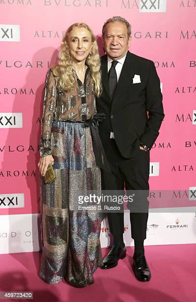 Franca Sozzani and Ermanno Scervino attend the MAXXI Gala Dinner photocall at Maxxi Museum on November 29 2014 in Rome Italy