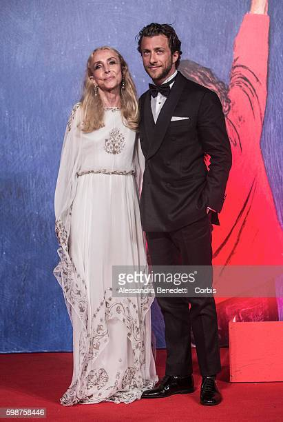 Franca Sozzani and Francesco Carrozzini attend the premiere of FRANCA Chaos and Creation during the 73rd Venice Film Festival on September 2 2016 in...