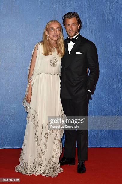 Franca Sozzani and Franceso Carrozzini attends the premiere of 'Franca Chaos And Creation' during the 73rd Venice Film Festival at Sala Giardino on...