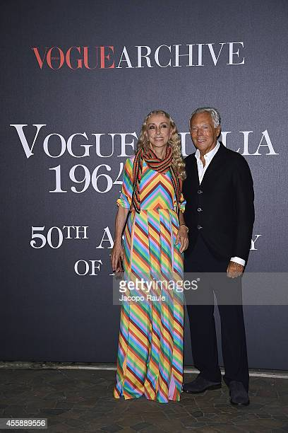 Franca Sozzani and Giorgio Armani attend Vogue Italia 50th Anniversary during Milan Fashion Week Womenswear Spring/Summer 2015 on September 21 2014...