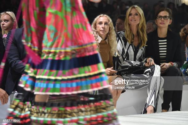 Franca Sozzani and Heidi Klum attend Roberto Cavalli Fashion Show during Milan Fashion Week Womenswear Spring/Summer 2015 on September 20 2014 in...