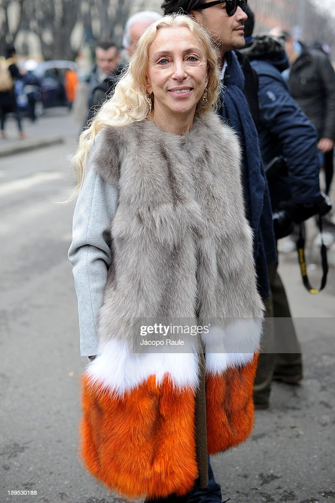Franca Sozzani arrives at Giorgio Armani during Milan Fashion Week Menswear Autumn/Winter 2013 on January 15, 2013 in Milan, Italy.