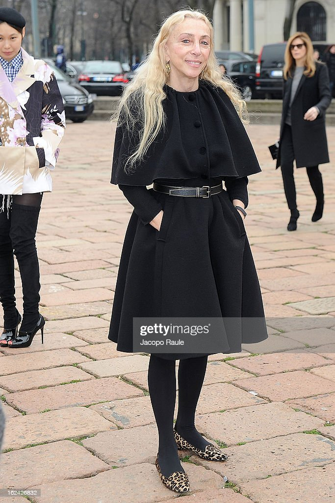 <a gi-track='captionPersonalityLinkClicked' href=/galleries/search?phrase=Franca+Sozzani&family=editorial&specificpeople=639425 ng-click='$event.stopPropagation()'>Franca Sozzani</a> arrives at the Roberto Cavalli fashion show as part of Milan Fashion Week Womenswear Fall/Winter 2013/14 on February 23, 2013 in Milan, Italy.