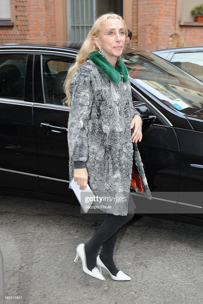 Franca Sozzani arrives for the Alberta Ferretti show during Milan Fashion Week Womenswear Fall/Winter 2013/14 on February 20, 2013 in Milan, Italy.