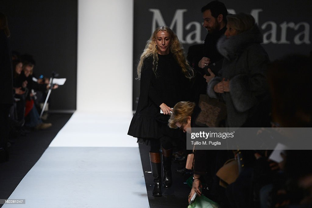 <a gi-track='captionPersonalityLinkClicked' href=/galleries/search?phrase=Franca+Sozzani&family=editorial&specificpeople=639425 ng-click='$event.stopPropagation()'>Franca Sozzani</a> attends the Max Mara fashion show during Milan Fashion Week Womenswear Fall/Winter 2013/14 on February 21, 2013 in Milan, Italy.