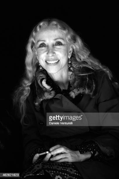 Franca Sozzani attends the Roberto Cavalli show as a part of Milan Fashion Week Menswear Autumn/Winter 2014 on January 14 2014 in Milan Italy