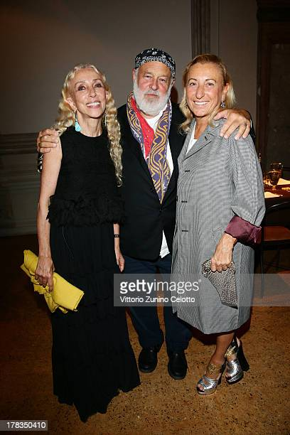 Franca Sozzani Bruce Weber and Miuccia Prada attend the Miu Miu Women's Tales dinner hosted by Miuccia Prada at the Ca' Corner on August 29 2013 in...