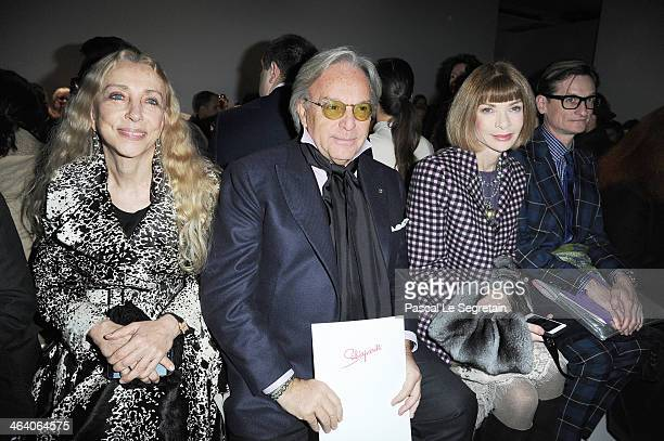 Franca Sozzani Diego Della Valle and Anna Wintour attend the Schiaparelli show as part of Paris Fashion Week Haute Couture Spring/Summer 2014 on...