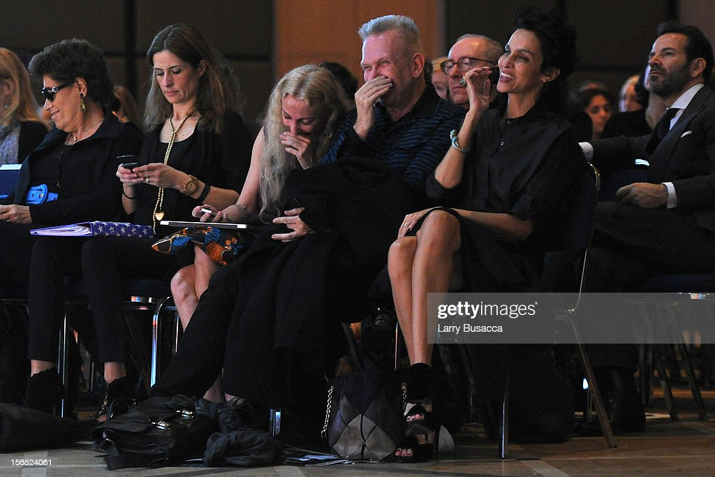 Franca Sozzani, Editor-in-Chief of Vogue Italia, Jean Paul Gaultier and Farida Khelfa, Maison Schiaparelli Ambassador, attend the third day of the 2012 International Herald Tribune's Luxury Business Conference held at Rome Cavalieri on November 16, 2012 in Rome, Italy. The 12th annual IHT Luxury conference is the premier meeting point for the luxury industry. 500 delegates from 30 countries have gathered in Rome to hear from the world's most inspirational fashion designers and luxury business leaders.