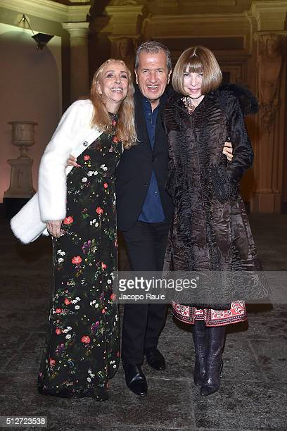 Franca Sozzani Mario Testino and Anna Wintour attend Vogue Cocktail Party honoring photographer Mario Testino on February 27 2016 in Milan Italy