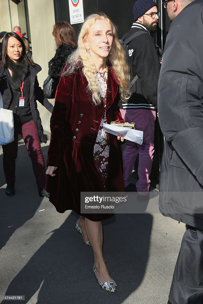 <a gi-track='captionPersonalityLinkClicked' href=/galleries/search?phrase=Franca+Sozzani&family=editorial&specificpeople=639425 ng-click='$event.stopPropagation()'>Franca Sozzani</a> sighting the Dolce & Gabbana Fashion Show on day 5 of Milan Fashion Week Womenswear Autumn/Winter 2014 on February 23, 2014 in Milan, Italy.