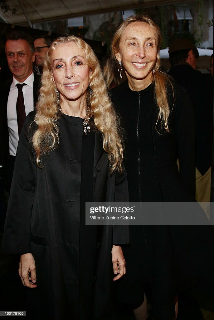 Franca Sozzani, Vogue Italia Editor in Chief and Carla Sozzani attend Citroen DS Sofa and DS3 Cabrio L'Uomo Vogue Limited Edition cocktail at Corso Como 10 on April 9, 2013 in Milan, Italy.