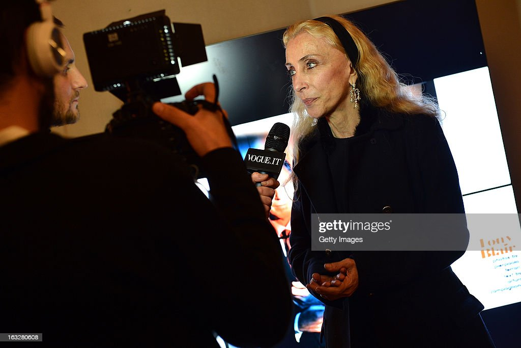 Franca Sozzani, Vogue Italia Editor in Chief, gives an interview during the charity auctioning of the first 'Citroen DS3 Cabrio L'Uomo Vogue' hosted by L'Uomo Vogue and Citroen at the Permanent Mission of France to the United Nations Office on March 6, 2013 in Geneva, Switzerland.